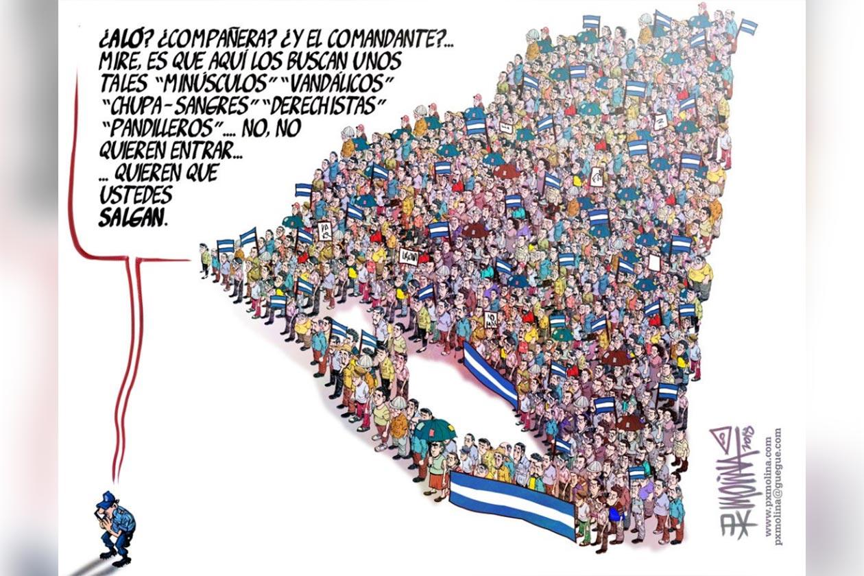 Una de las caricaturas preferidas de Pedro Molina surgidas durante la rebelión cívica que vive Nicaragua.