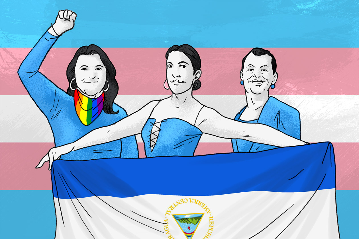 Victoria Obando, Kisha López y Carolina Gutiérrez son las tres mujeres transgénero que fueron arrestadas por unirse a la protesta cívica. Juan García | Niú