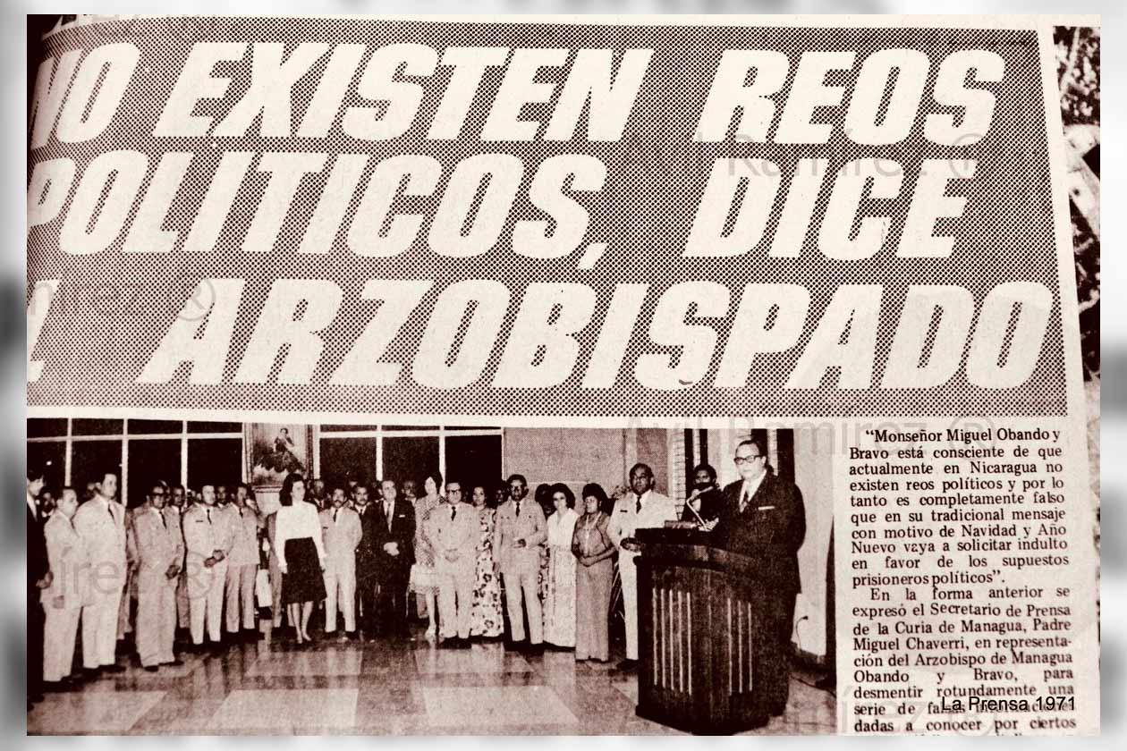 """Al igual que el dictador Anastasio Somoza, Daniel Ortega ha negado en varias entrevistas la existencia de presos políticos. Según él """"los que están detenidos y juzgados, en Nicaragua, son por delitos comunes. El que comete un crimen, comete un delito común. Aquí no hay ni un solo detenido por hablar en contra del Gobierno""""."""