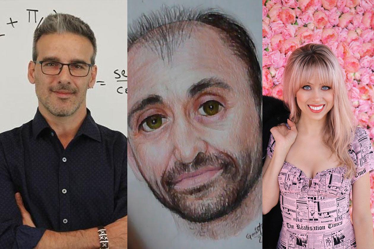 De izquierda a derecha: David Calle, youtuber de matemáticas, Leonardo Pereznieto, pintor y Holly Tuggy, youtuber de idiomas.